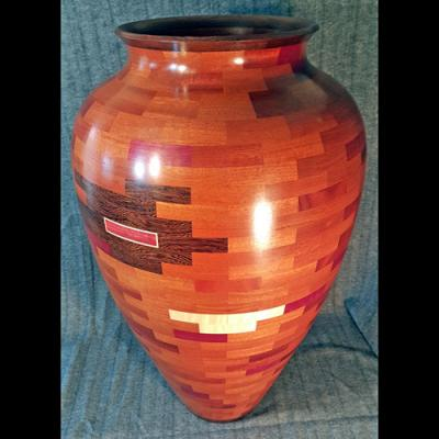 Large segmented floor vase
